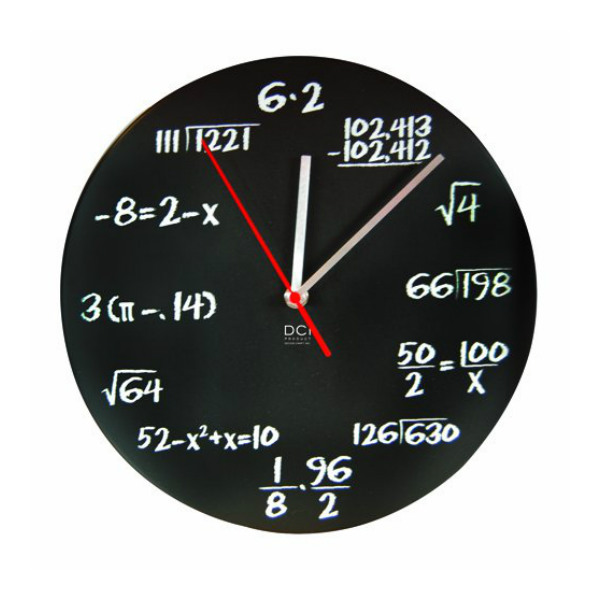 DCI Matte Black Powder Coated Metal Mathematics Blackboard Pop Quiz Clock